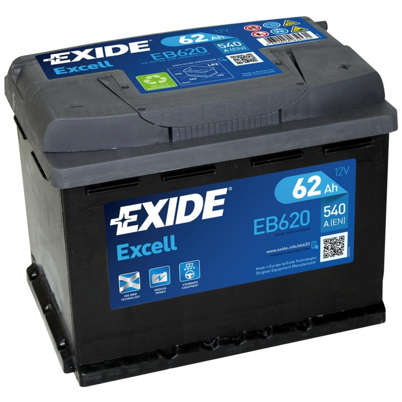 Excell EB620 62Ah 540A 242x175x190 -/+