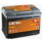 DETA POWER 12V/74Ah/680A AKU 278x175x190 -/+